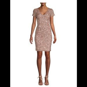 Adrianna Papell Rose Gold Sequined Dress
